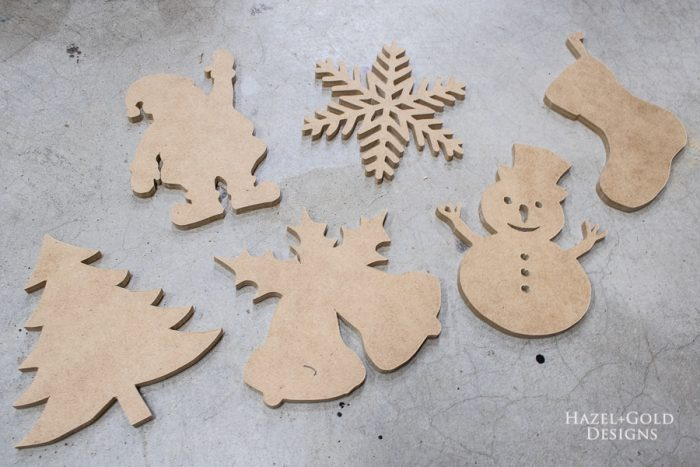 lightly sand each shape with 220 grit sandpaper