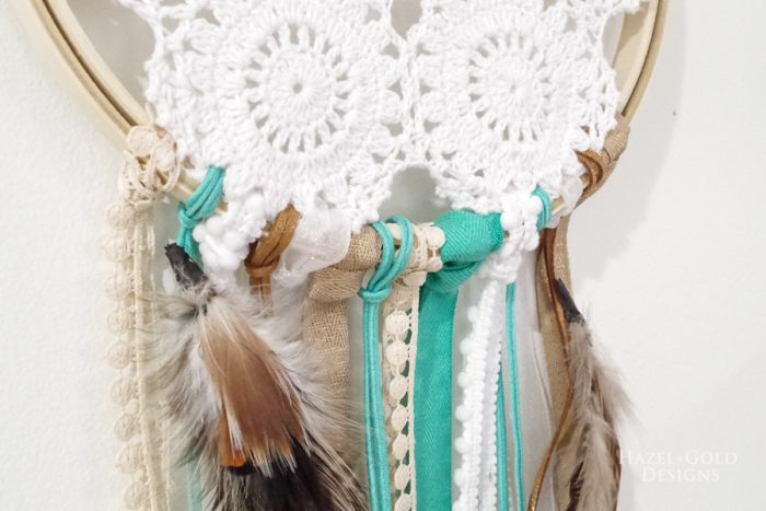 Closeup of ribbons on DIY Doily Dreamcatcher