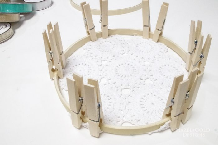 Let the super glue set on all the sides of the doily.