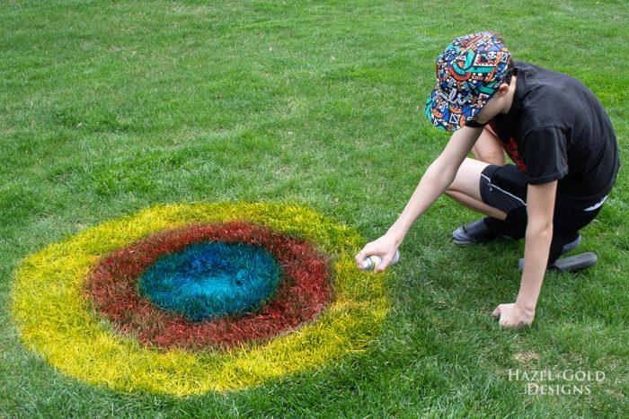 yard game target using testors spray chalk