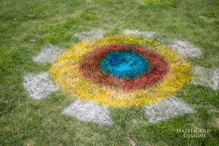 Target made in grass for yard games using testors spray chalk